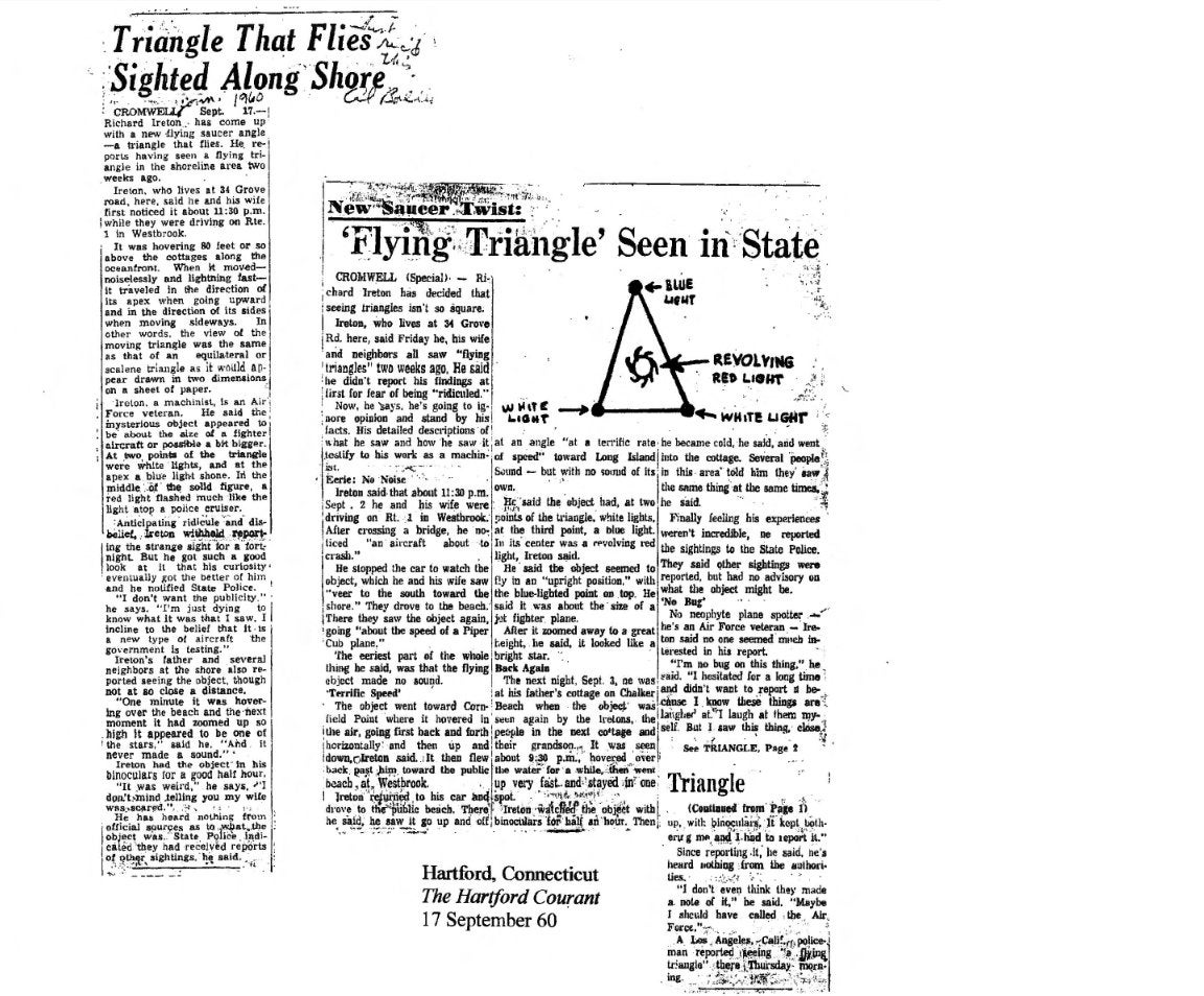 Compilation of Triangle UFO videos, pictures, newspaper clippings, and witness testimonies.